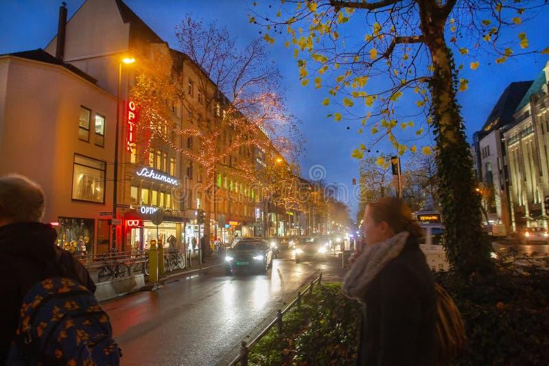 Majestic Dusseldorf -  twilight and yellow  city  lights ! stock photo