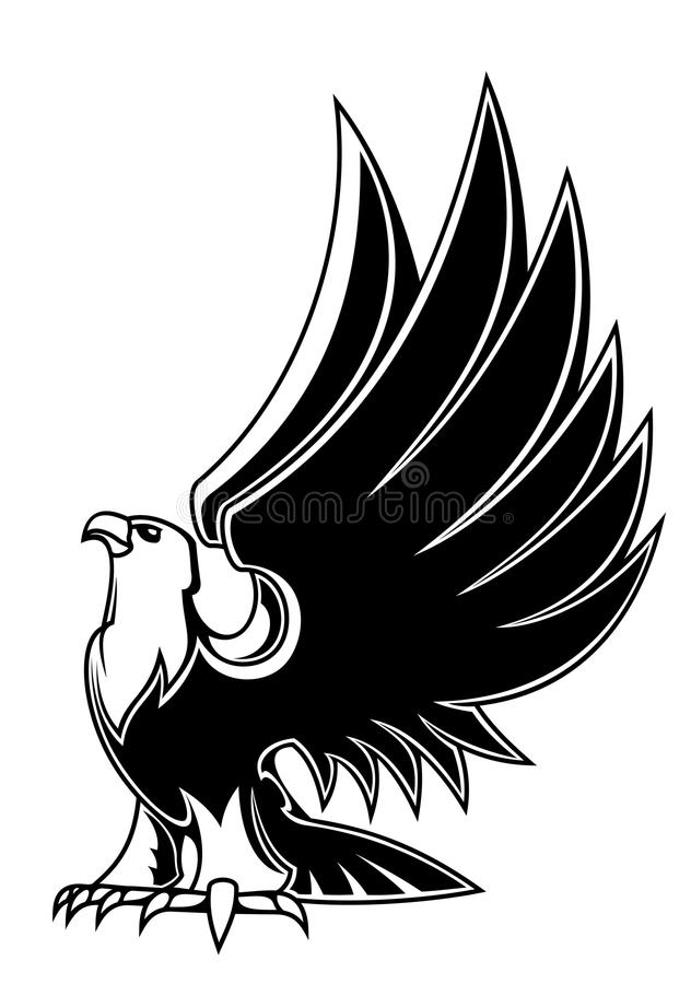 Majestic eagle mascot. Isolated on white background for tattoo or heraldry design royalty free illustration