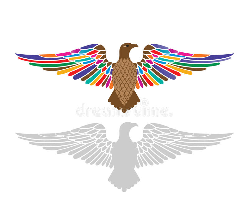 Majestic eagle with colorful wings spread. Majestic eagle with wings spread top image with different colors bottom gray decal one piece stock illustration