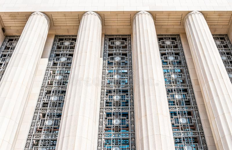 Majestic facade of Cityhall in Los Angeles. A building with columns stock photos