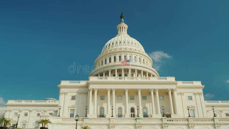 The majestic famous Capitol building in Washington, DC. Against the background of the blue sky. royalty free stock images