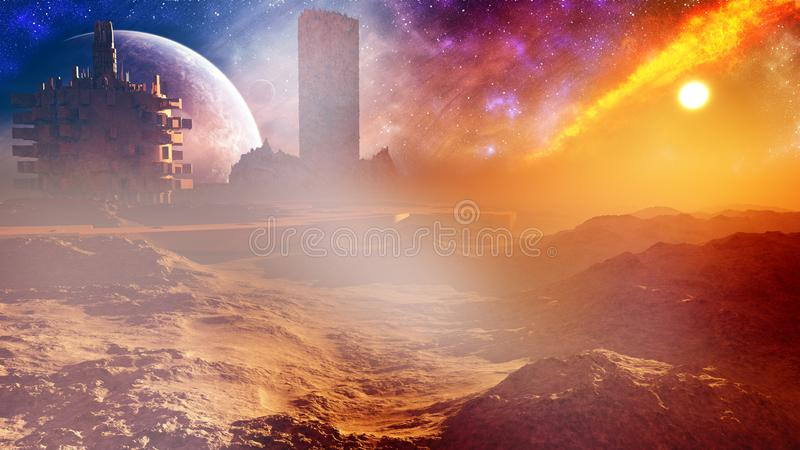 Majestic Fantasy Desert City With Tower. A majestic science fiction type of concept city skyline with a glorious magical tower in a high desert environment with vector illustration