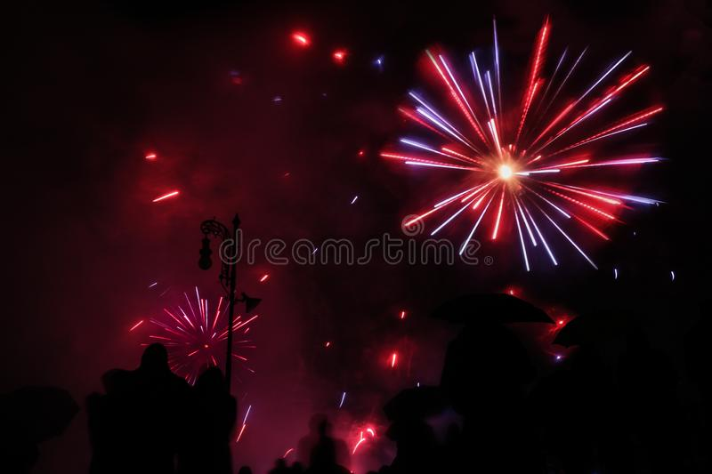 Majestic firework blue and red colour explosions royalty free stock photos