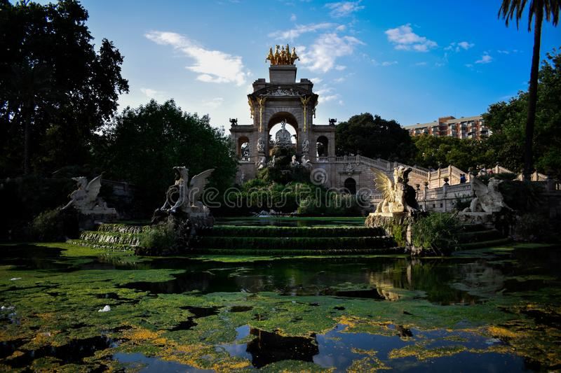 Majestic fountain. In the middle of Barcelona stock photography