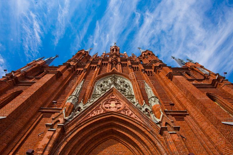 Majestic Gothic cathedral and blue sky stock photos