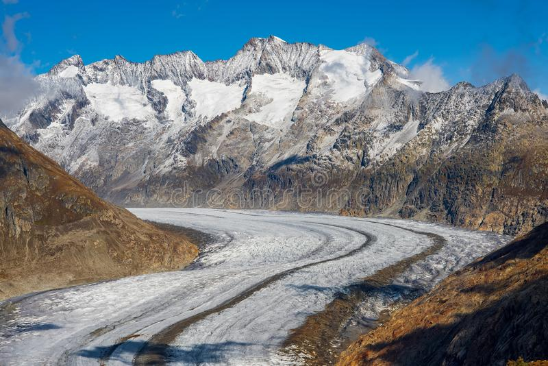 Majestic Great Aletsch Glacier in Swiss Alps. Valais, Switzerland. Majestic Great Aletsch Glacier in Swiss Alps. It is the largest glacier in Alps. UNESCO World royalty free stock photos