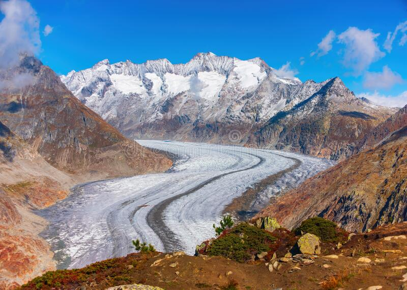 Majestic Great Aletsch Glacier in Swiss Alps. Valais, Switzerland. Majestic Great Aletsch Glacier in Swiss Alps. It is the largest glacier in Alps. UNESCO World stock photo