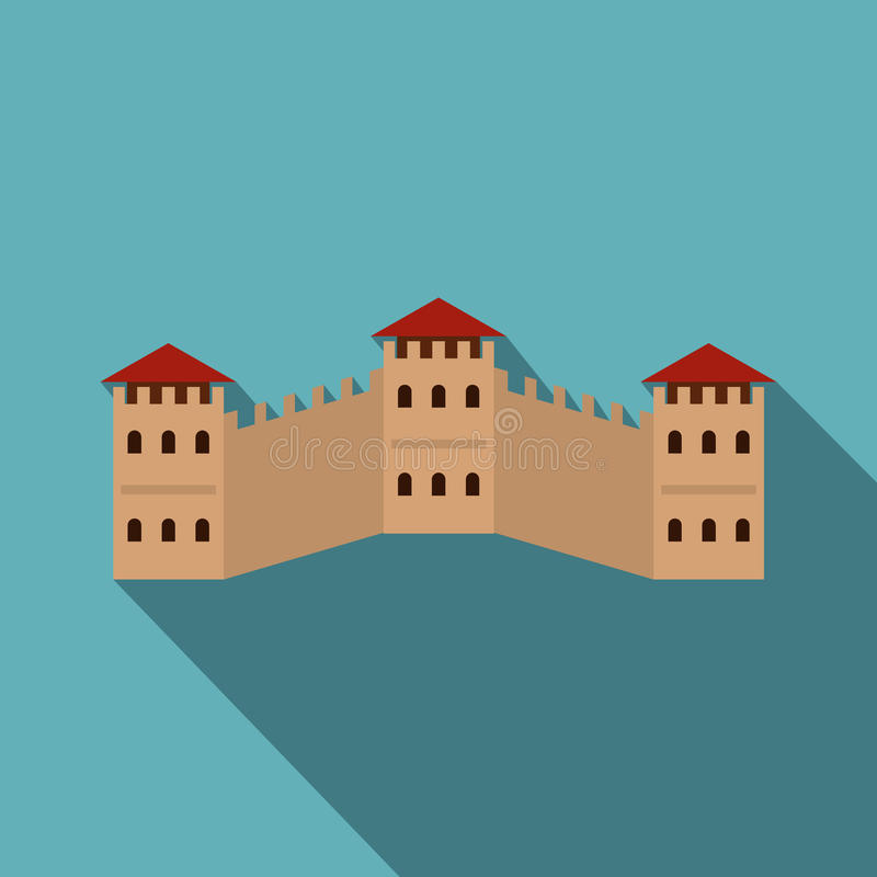 Majestic Great Wall of China icon, flat style vector illustration