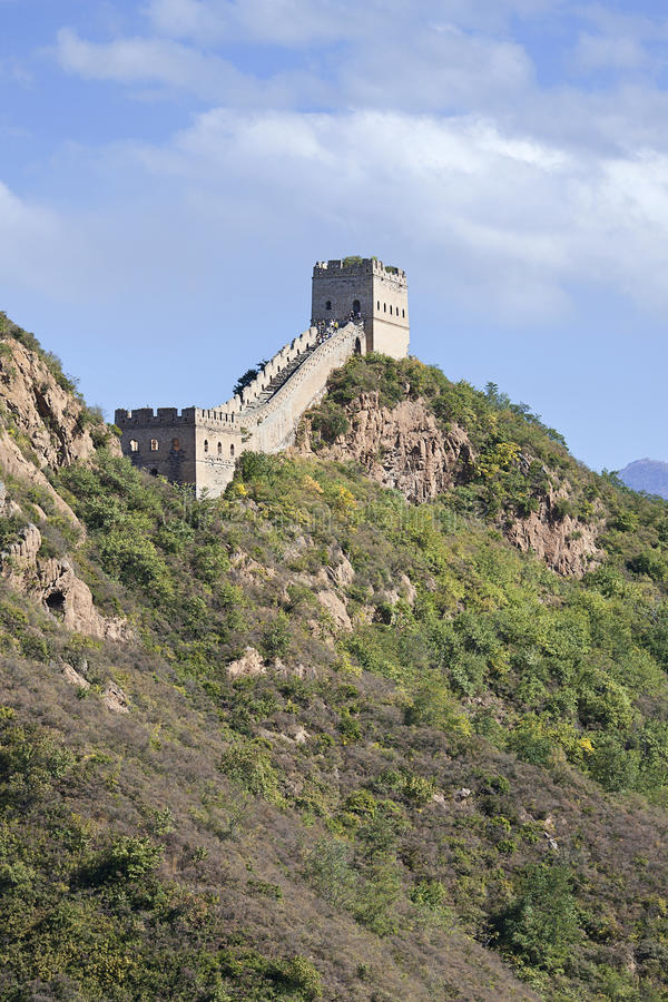 Majestic Great Wall in the mountains of Jinshanling, Beijing, China royalty free stock photo