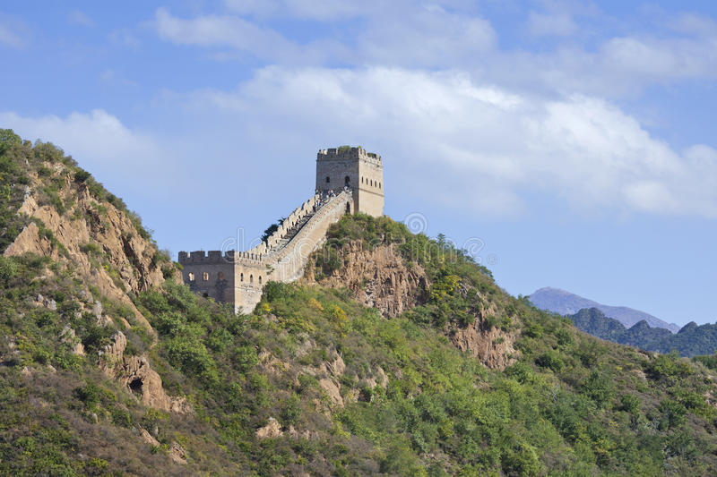 The majestic Great Wall in the mountains of Jinshanling, Beijing, China royalty free stock photos