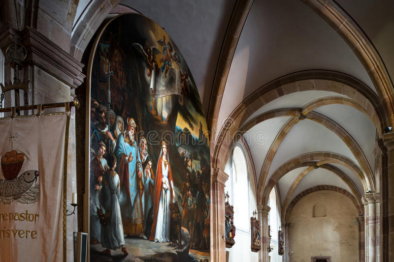 Majestic interior of Abbey-church of Saint Peter and Saint Paul royalty free stock photos