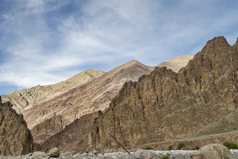 Majestic jagged Himalayan mountains. Along Manali - Leh highway royalty free stock photos