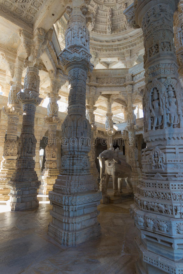 Majestic jainist temple at Ranakpur, Rajasthan, India. Details of stone carvings. royalty free stock photography