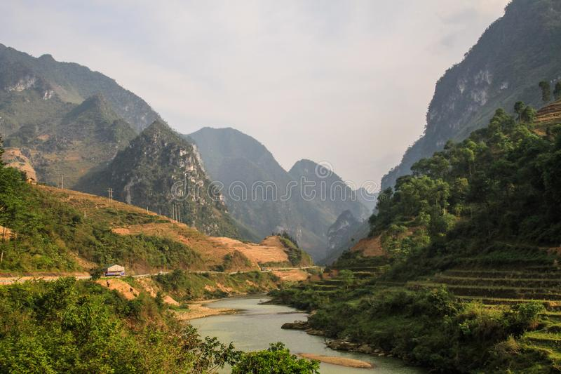 The majestic karst mountains around Van, Ha Giang Province, Vietnam. Van is a rural district of Ha Giang province in the Northeast region of Vietnam. As of 2003 royalty free stock photos