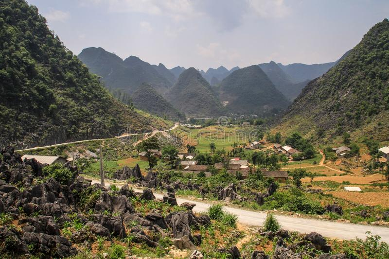 The majestic karst mountains around Van, Ha Giang Province, Vietnam. Van is a rural district of Ha Giang province in the Northeast region of Vietnam. As of 2003 stock photos