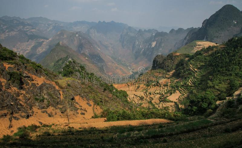 The majestic karst mountains around Meo Vac, Ha Giang Province, Vietnam. Meo Vac is a small but charming district capital hemmed in by steep karst mountains and stock photos