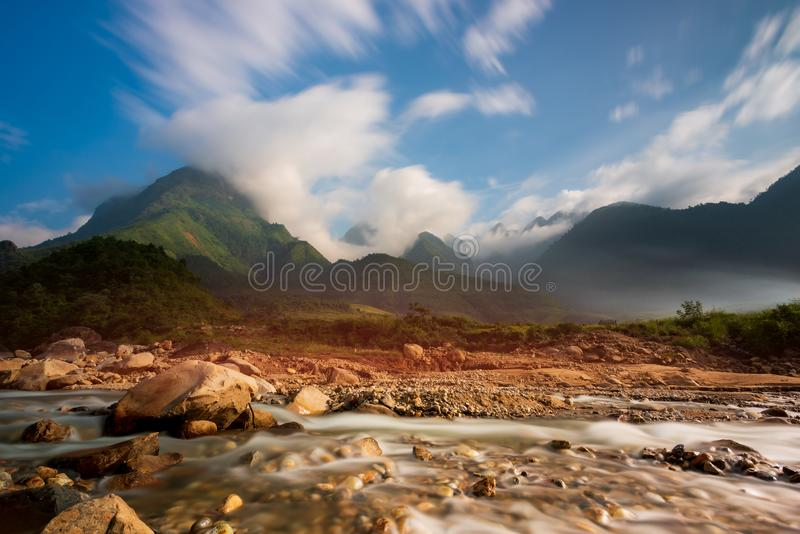 The majestic landscape with beauty mountain range, stream and rice field part 14 royalty free stock photography