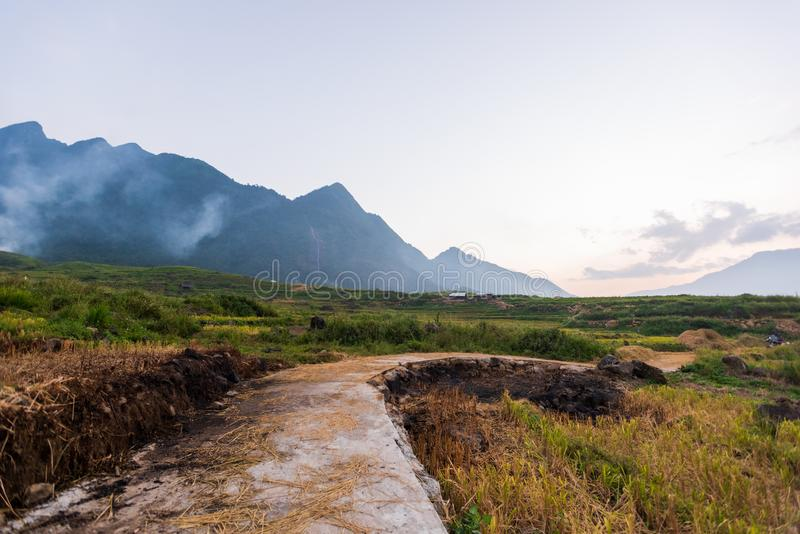 The majestic landscape with beauty mountain range, stream and rice field part 5 royalty free stock photo