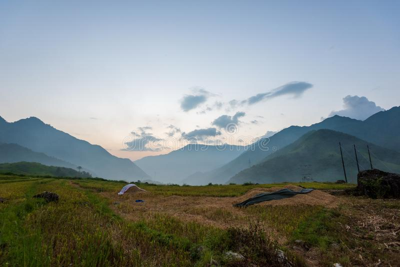 The majestic landscape with beauty mountain range, stream and rice field part 3 stock photos