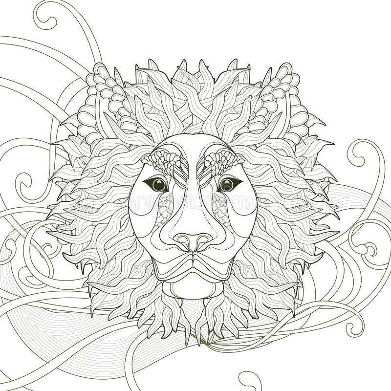 Majestic lion coloring page. Design in exquisite style vector illustration