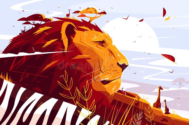 Majestic lion on safari. Vector illustration. King of beasts lying and giraffes walking flat style concept. Wild picturesque savannah landscape on background vector illustration