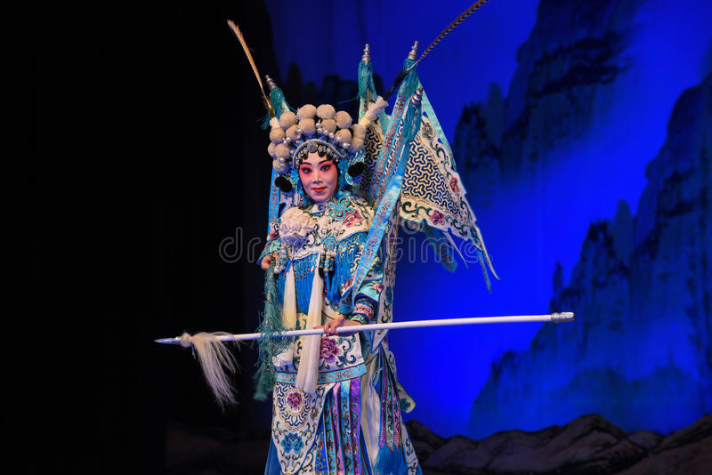 """Majestic-looking female generals- Beijing Opera"""" Women Generals of Yang Family"""". This opera tells a patriotic story how does an old woman of a royalty free stock images"""