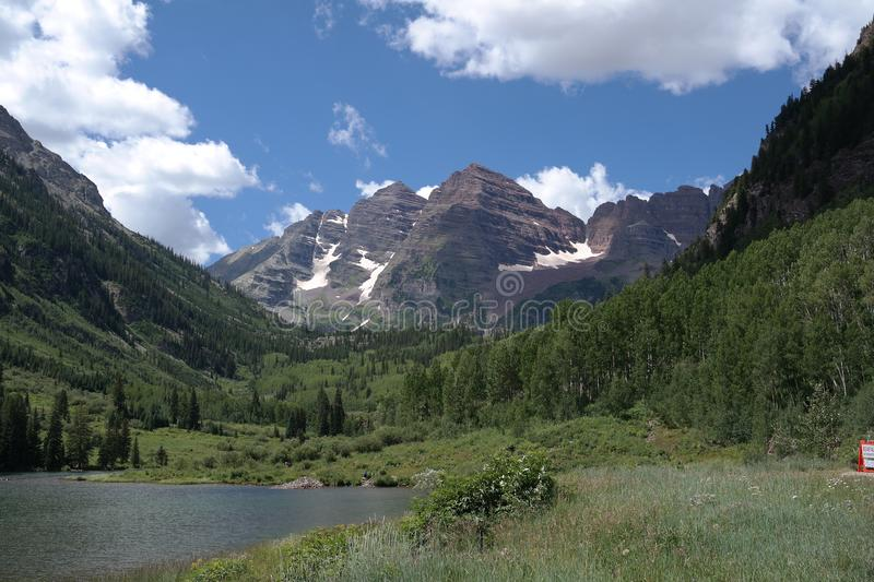 The iconic Maroon Bells of Aspen, Colorado Rocky Mountains stock photography