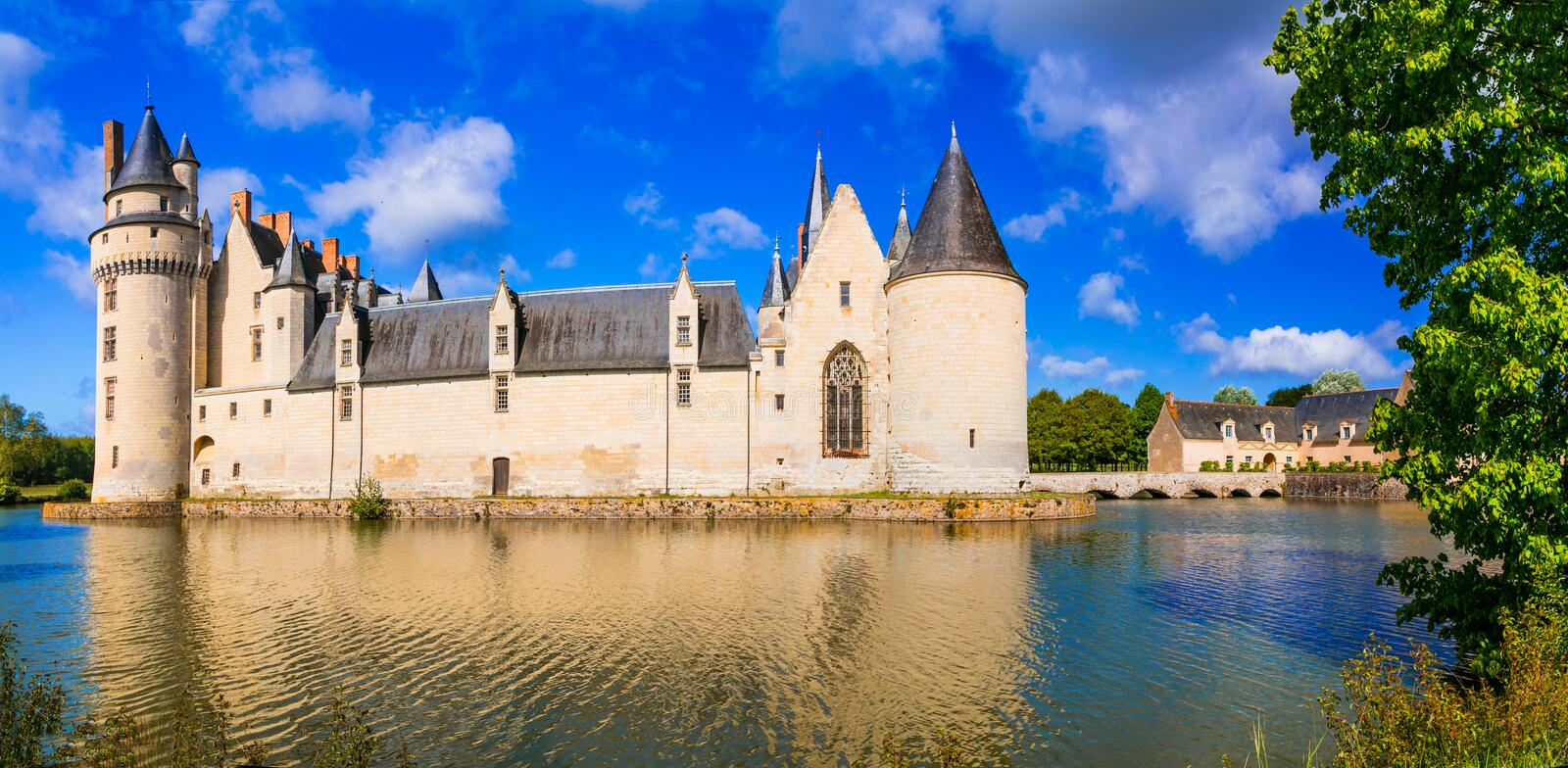 Majestic medieval castles in Loire valley - Le Plessis Bourre. F. Beautiful Plessis Bourre castle,panoramic view with river,Loire valley,France royalty free stock photography
