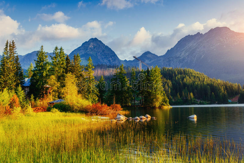 Majestic mountain lake in National Park High Tatra. Strbske ples. O, Slovakia, Europe royalty free stock images