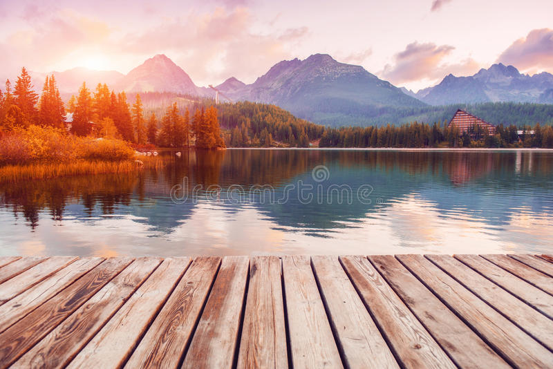 Majestic mountain lake in National Park High Tatra. Strbske pleso, Slovakia, Europe. stock image