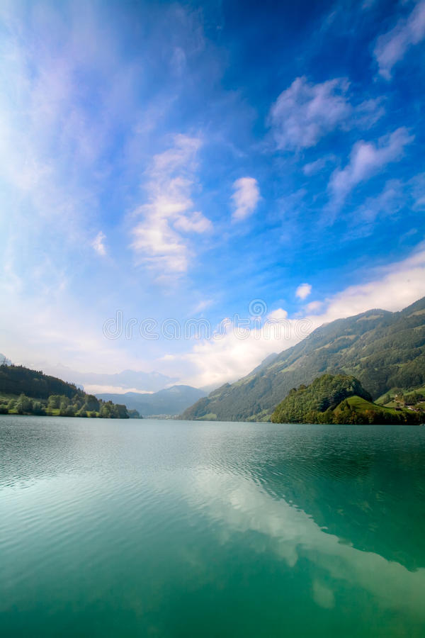 Majestic mountain lake in Switzerland. Majestic emerald mountain lake in Switzerland stock images