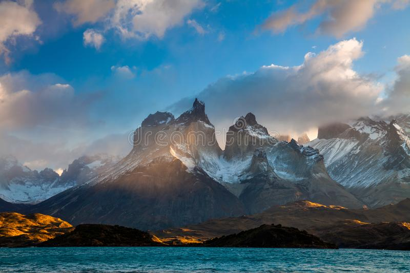 Majestic mountain landscape. National Park Torres del Paine, Chile. royalty free stock photography