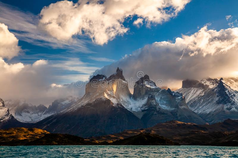 Majestic mountain landscape. National Park Torres del Paine, Chile. stock photography