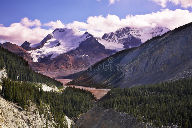 Majestic mountain landscape, the snow slopes stock images