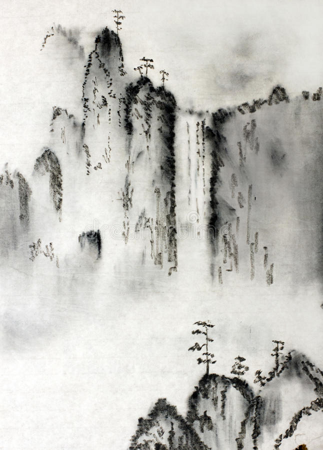 Majestic mountains. Chinese majestic mountains and clouds stock illustration