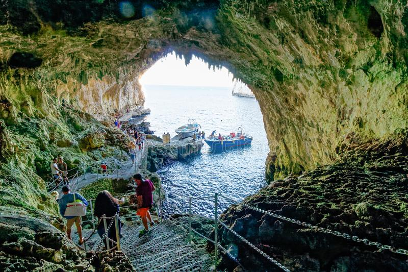 Interior of Zinzulusa Grotto cave system - Puglia, italy. A majestic opening in a sheer sea cliff near Castro welcomes you to the Zinzulusa Cave, one of Salento` royalty free stock images