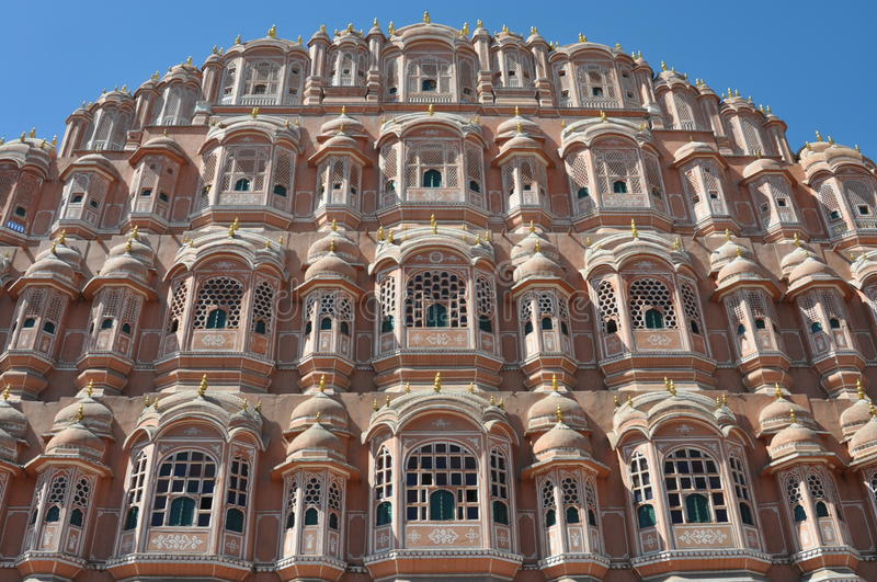Majestic palace of winds, India. A detail of the palace of winds (Hawa Mahal) built in Jaipur, India royalty free stock images
