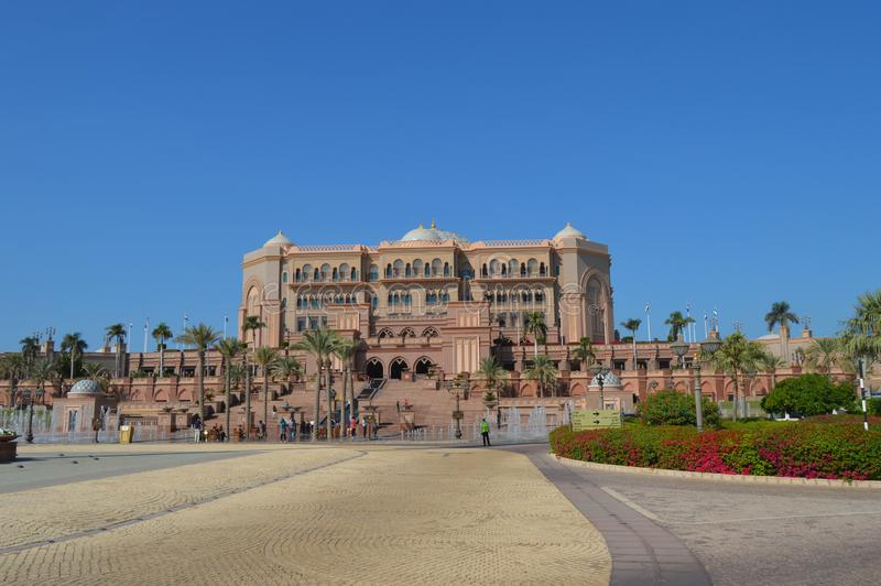Majestic and Palatial beach front hotel known as Emirates Palace in Abu Dhabi UAE. Majestic and Palatial beach front five star hotel known as Emirates Palace in stock photo