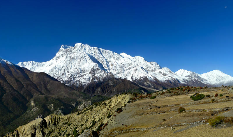 Majestic panoramic view of Annapurna and Gangapurna range. stock image