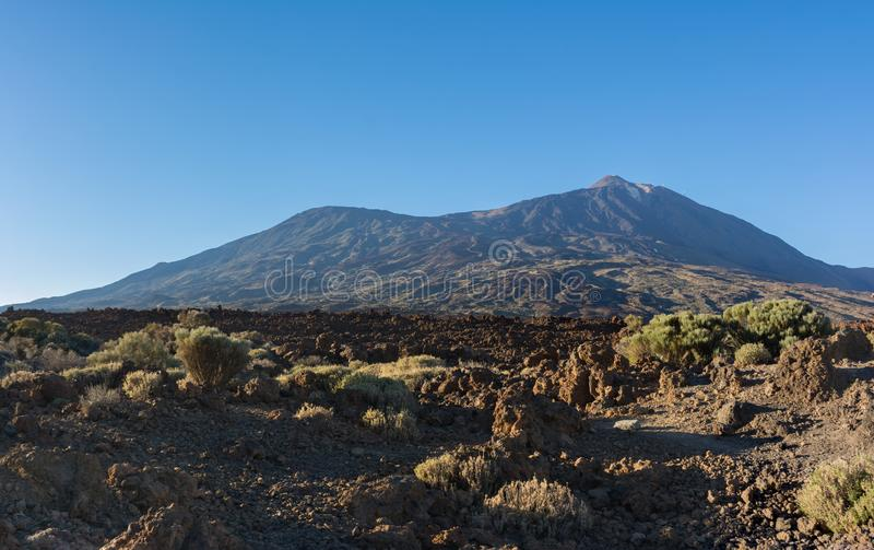 Majestic panoramic view of the Teide Volcano and Pico Viejo at s royalty free stock photo