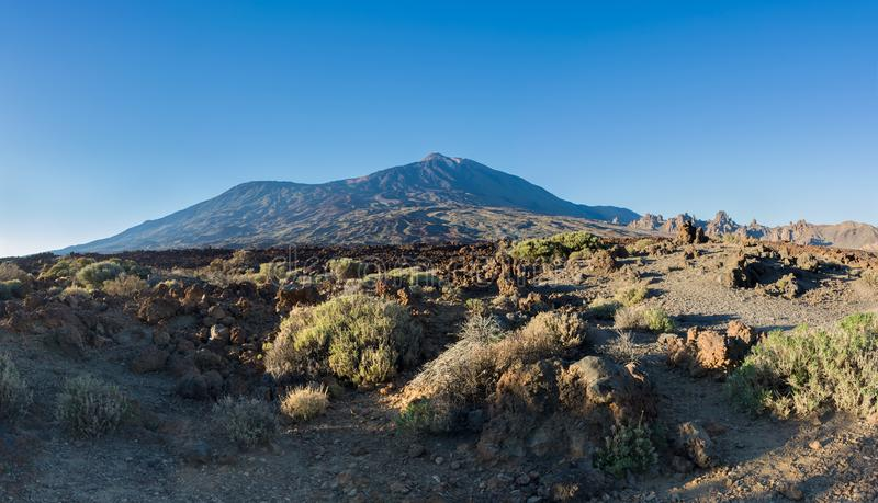 Majestic panoramic view of Teide Volcano and Roques de Garcia at stock image
