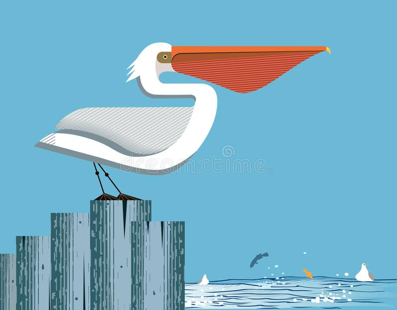 Majestic pelican on sky background. Majestic pelican stands on a column on the sea and sky background, vector royalty free illustration
