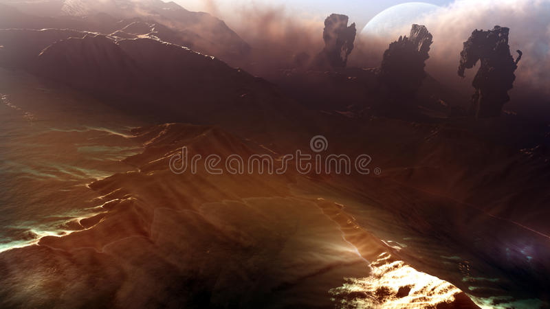 Majestic Planet Landscape And Sky. Landscape and sky view of a majestic planet environment with mountains, lakes, gigantic rock formations and visible planet in royalty free illustration