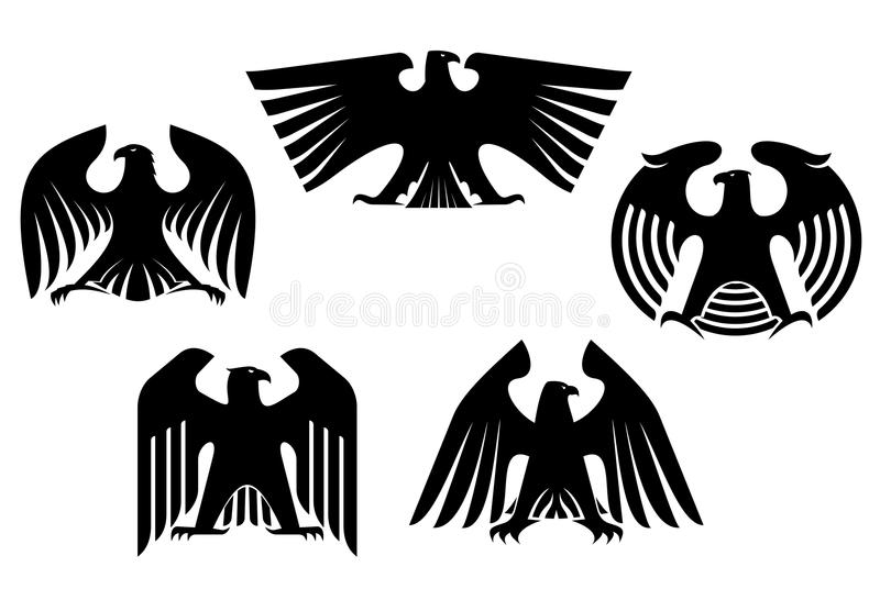 Majestic and powerful heraldic eagles. Set for tattoo or heraldry design vector illustration