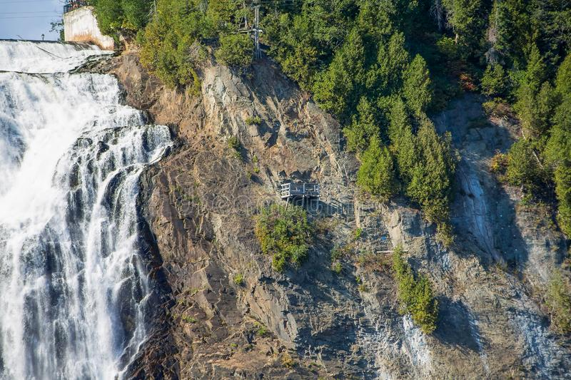 Montmorency Falls Side. The Majestic and Powerful Montmorency Falls near Quebec City, Quebec, Canada stock photos