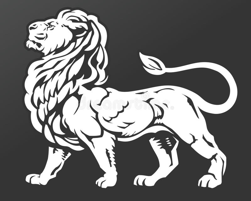 Proud Lion. Majestic, proud lion standing with chin raised. A symbol of royalty, leisure, pride, and luxury