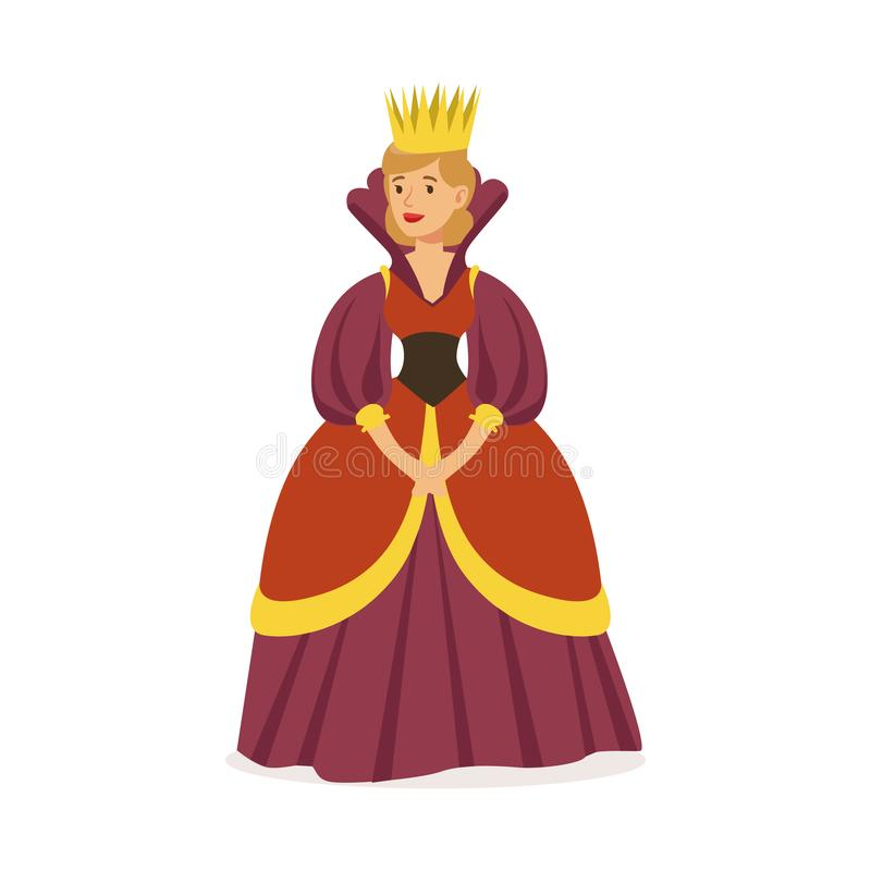 Majestic queen in purple dress and gold crown, fairytale or European medieval character colorful vector Illustration. On a white background stock illustration