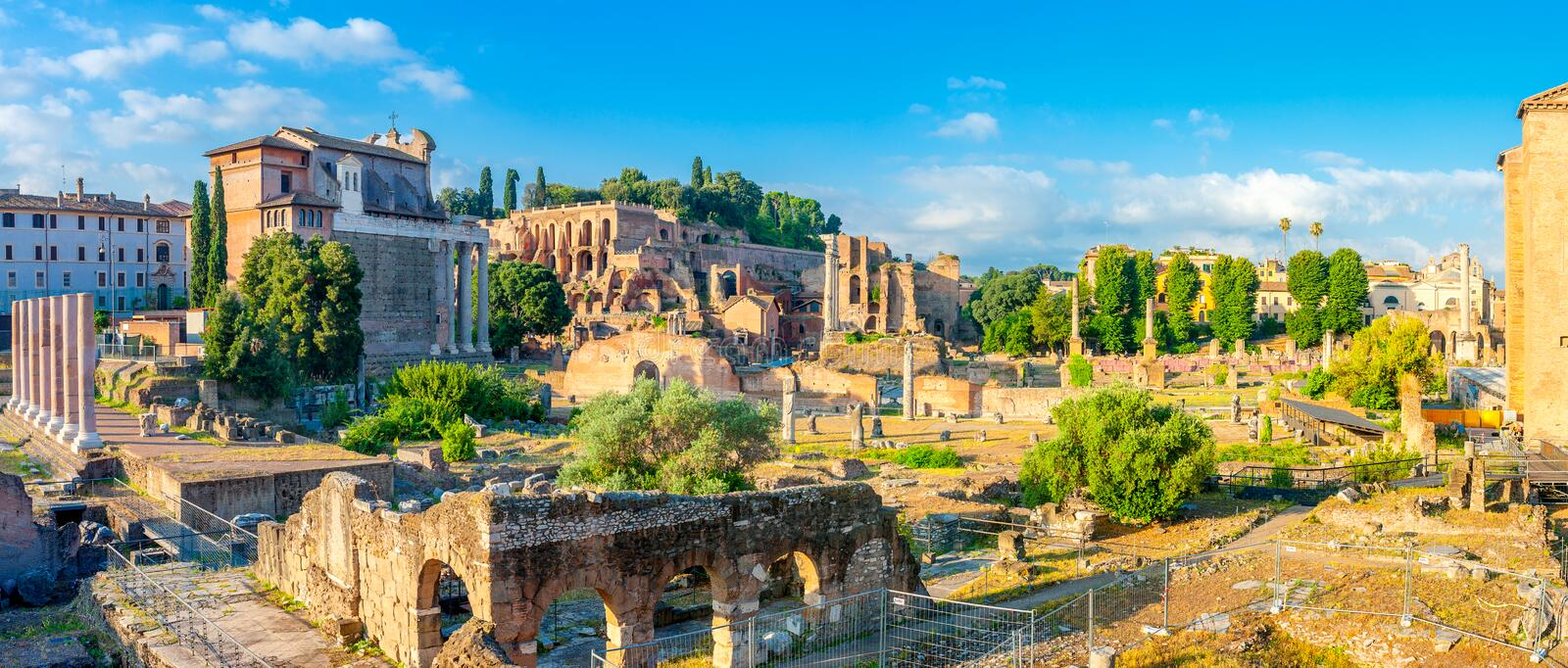 Majestic Roman ruins in ancient Rome at sunrise stock image