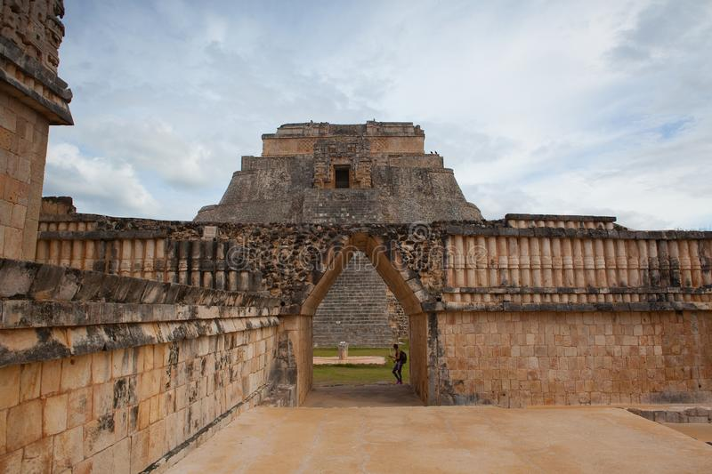Majestic ruins Maya city in Uxmal,Mexico. stock images