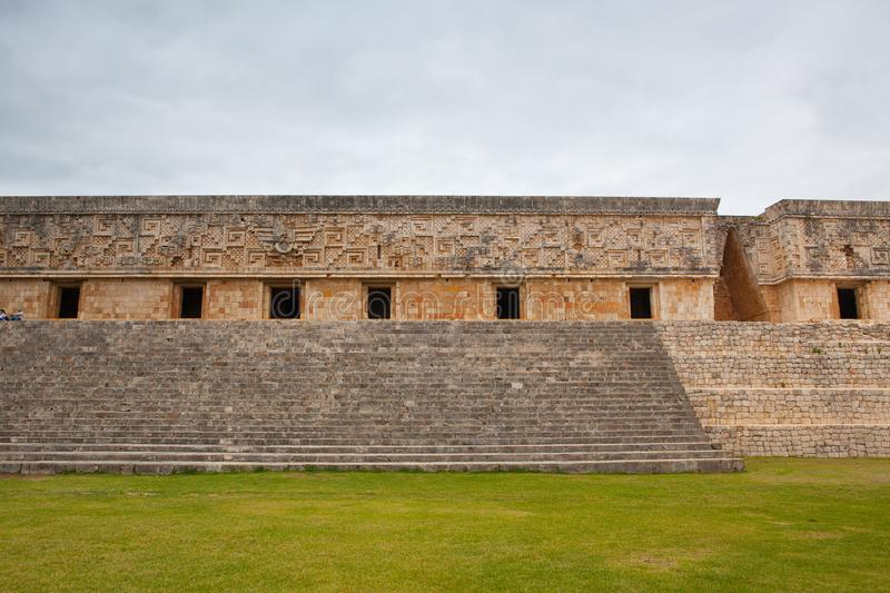 Majestic ruins Maya city in Uxmal,Mexico. royalty free stock image
